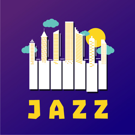 Jazz music poster with piano keys and city buildings. Vector illustration. Piano concert background.