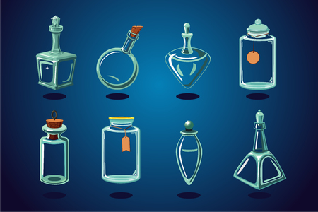 Empty glass bottle, flacon and jar. Cartoon illustration. Vector assets collection.