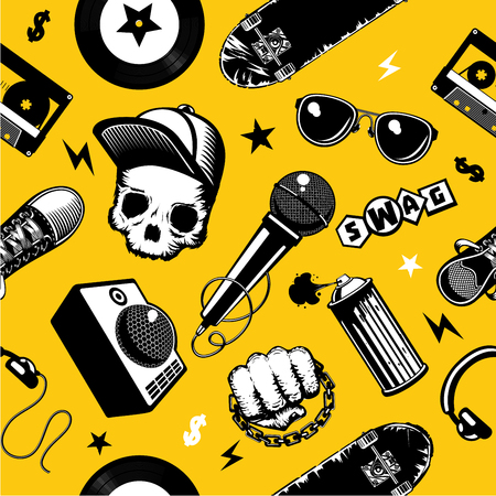 Hip-hop seamless pattern with music equipment. Street culture background. Vector illustration Çizim