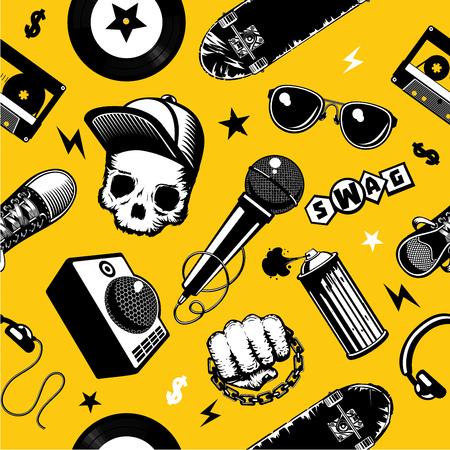 Hip-hop seamless pattern with music equipment. Street culture background. Vector illustration Illusztráció