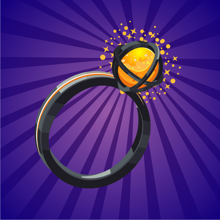 Magic fantasy ring. Video game assets. Cartoon vector illustration. Design concept.