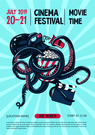 Movie festival poster with octopus and cinema equipment. Cartoon vector illustration.Cinematography web banner template.