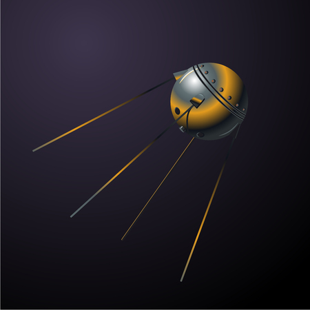 Satellit first from USSR. Vector clip art on isolated background. Realistic cartoon illustration.
