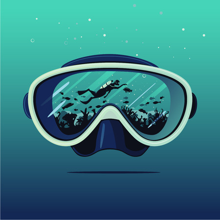 Diving mask with scuba diver on reflection. Extreme sport vector background. Diving on coral reef. Double exposure illustration.