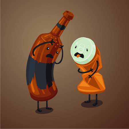Hangover cartoon illustration. Bad drink. Trash and garbage concept. Anthropomorphic beer bottle and can. Çizim