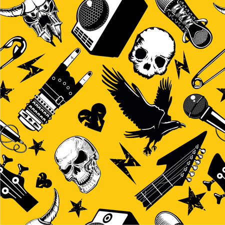 Rock and roll seamless pattern. Music vector background. Musical and sound elements. Grunge style illustration
