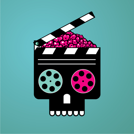 Movie poster with clapper and zombie head. Horror video film concept. Cinema vector illustration.