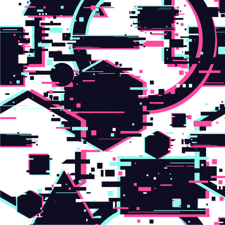Glitchy seamless pattern. Abstract texture with glitch effect. Geometric cyberpunk background with dynamic broken shapes. Surface with destortion effect. Çizim
