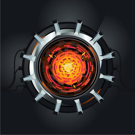 Futuristic engine. Atom energy reactor. Future energy and power concept.