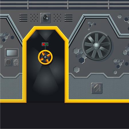 Futuristic spaceship wall with door. Game design level concept. Sci-fi background. Shelter door, retro aylum.