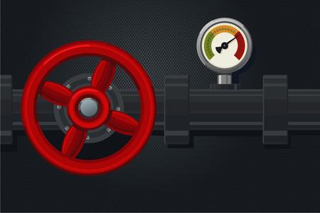 Fontanería con válvula roja y manómetro. Fondo de la industria de combustibles con sistema de tuberías. Tubo de agua y gasolina.