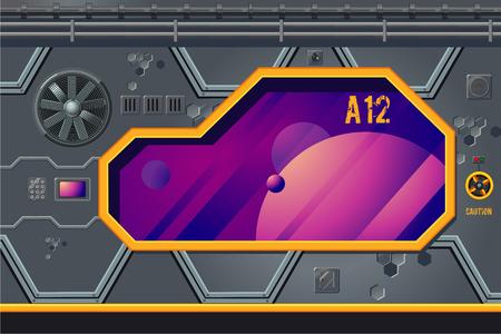 Spaceship interior with window. Rocket room game concept.