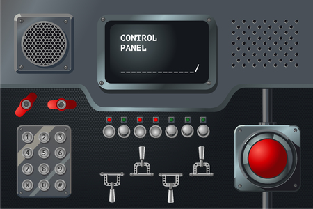 Control panel with display, buttons and handles. Vintage metalic controller. Industry equipment. Laboratory dashboard. Vector design.