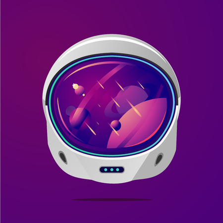 Space helmet on isolated background. Astronaut spacesuit with space on reflection. Pilot mask vector clip art