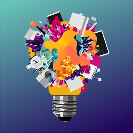 Creativity concept 3d bulb. Abstract vector background for business. Art and education vector banner.