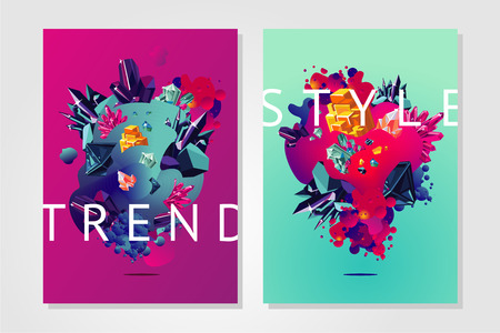 Inspiration trendy poster. Modern organic surface with vibran color gradient. Presentation cover template with abstract shapes and crystal.