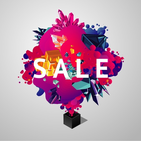 Sale banner with briht spots and crystals. Abstract 3d vector background with vibrant gradient.Sale sign with trendy geometric shapes.