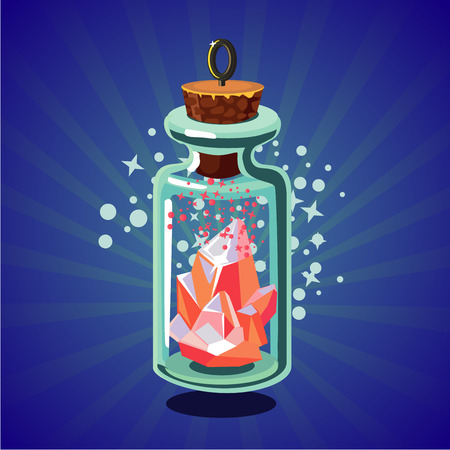 Fantasy catoon bottle with crystal. Game design concept. Bright magic stone.