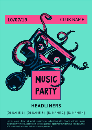 Poster template with octopus and vinyl record. Night party background. Summer dance music festival.