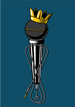 Microphone with kings crown. Vintage music poster. Musicla sign with mic. Tattoo style illustration. Ilustração