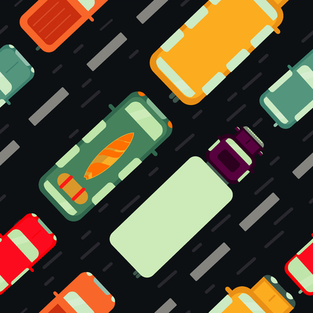 Seamless pattern with car top view. Motion auto collection. Vector background with cartoon texture.