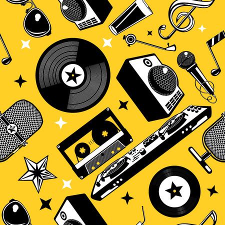 Retro music seamless pattern with vinyl disc and record. Musical background.