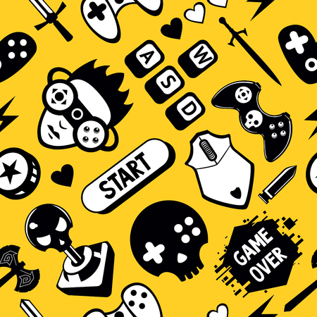 Seamless vector pattern with game elements. Funny video games texture with joystick controller and computer mouse. Vintage background.
