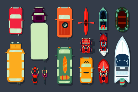 Transport icon set. Top view of cars, bikes and boats. Vector signs collection. Flat cartoon style.