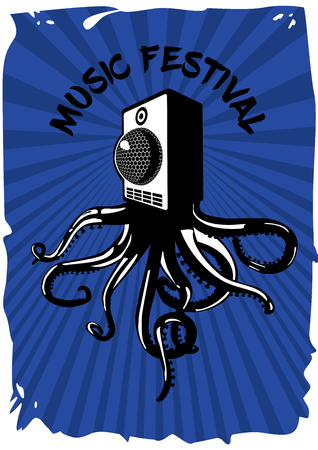 Speaker sound system with octopus. Electronic party banner template. Music festival vintage poster. Çizim