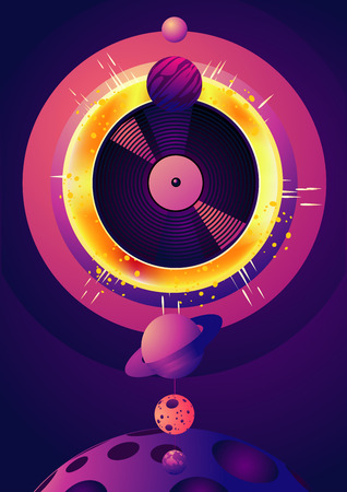 Night party music poster with space object and star. Retro futuristick illustration. Electronic dance festival banner with vinyl record. Ilustrace