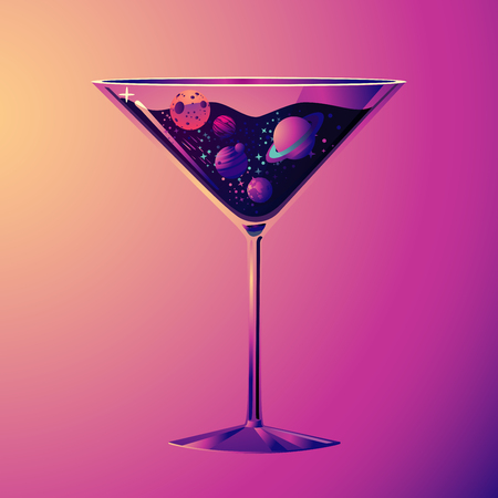 Cocktail party illustration. With drink glass and night sky. Futuristic neon style. Cartoon print. Çizim