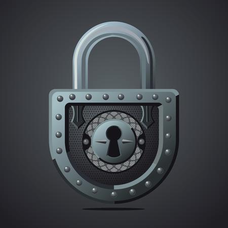 Cartoon vector lock. Vintage vector icon. Game design concept for gui. Fantasy assets. Vektoros illusztráció