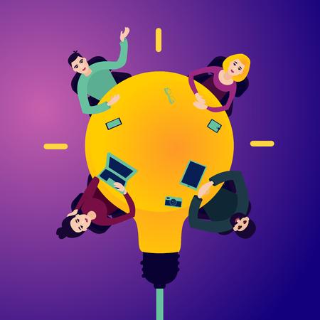 Treffen im Büro. Menschen auf dem runden Tisch in Form der Glühbirne. Ansicht von oben. Teambuilding-Konzept. Abbildung im flachen Stil.