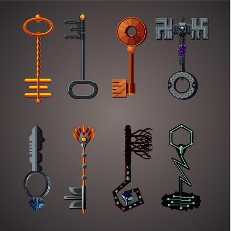 Magic keys fantasy set. Vector assets. Cartoon icons collection.
