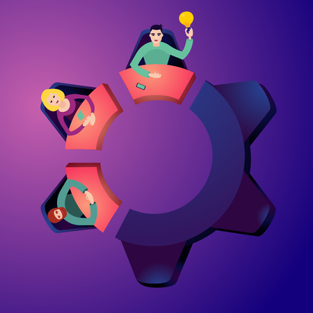 Brainstorming concept. Worker on a meeting. Top view flat style illustration. Partnership background. Conference table in the form of a gear