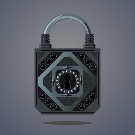 Cartoon vector lock. Vintage vector icon. Game design concept for gui. Fantasy assets.