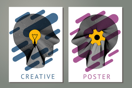 Abstract composition with human heads, gears and lamp. Posters with striped head and geometric shapes.Creativity concept with guilloche lines. Çizim
