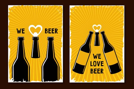 Craft beer poster set. Retro style vector illustration with bottle and can opener. Vintage backgrounds for pub and drink shop.