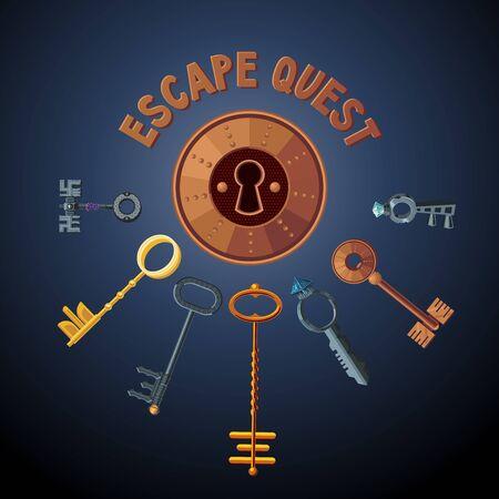 Quest game vector object. Vintage keys and lock. Escape room background. Door emblem. Foto de archivo - 134526354