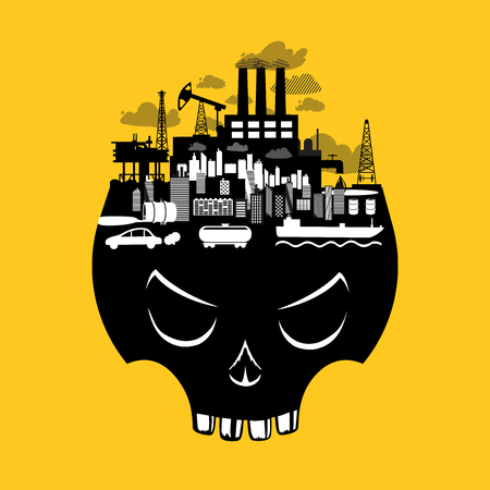 Ecological vector poster with danger industry objects. Pollution environment concept with skull and factory.