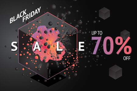 Black friday sale banner with abstract 3d element and particles. Vector template for discount.
