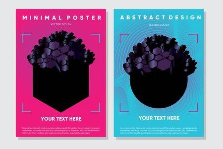 Abstract posters with 3d elements. Futuristic design concept with polygons.