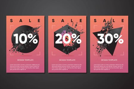 Black friday sale posters with abstract 3d element and particles. Vector template for discount.