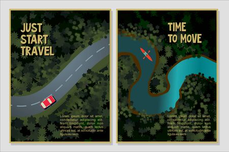 Travel posters set. Bird view of a forest river and road Cartoon vector illustration. Holidays trip background.