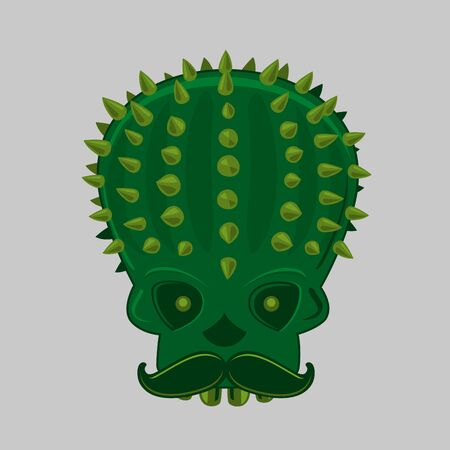 Cinco de mayo vector illustration with skull and cactus.Traditional festival poster for carnival. Mexican party isolated icon.