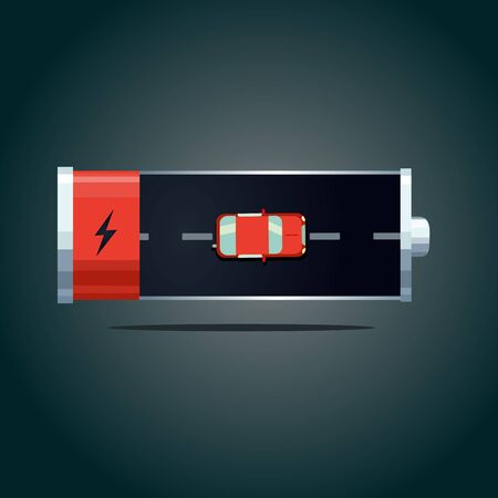 Electric car concept. Auto battery with red automobile on road. Transportation top view.