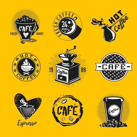 Vintage coffee emblem. Vector cafe icon set. Retro style signs collection. Illustration