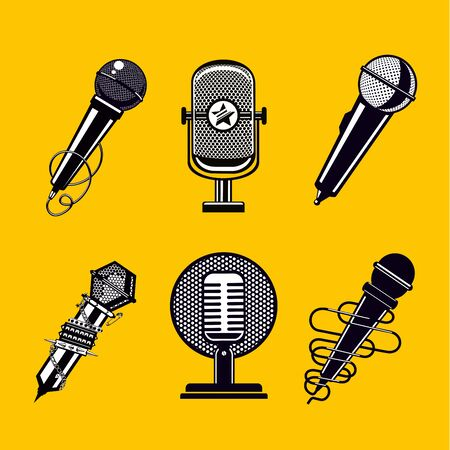 Microphone vector icon set. Vintage mic collection. Illustration