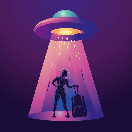 Futuristic girl traveler. Woman astronaut in spacesuit with travel bag. Vector cartoon illustration. Stock Illustratie