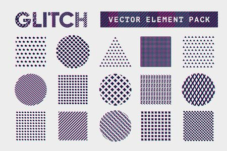 Abstract pattern set with chromatic aberration effect. Best for glitch backround design and motion animation. Glithy vector shape.